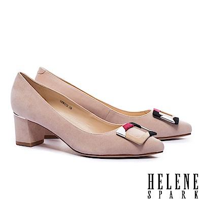 高跟鞋 HELENE SPARK 都市優雅多彩方釦全真皮尖頭高跟鞋-米