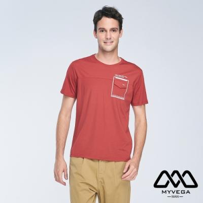 MYVEGA MAN夜光印花寬鬆短袖T恤-紅