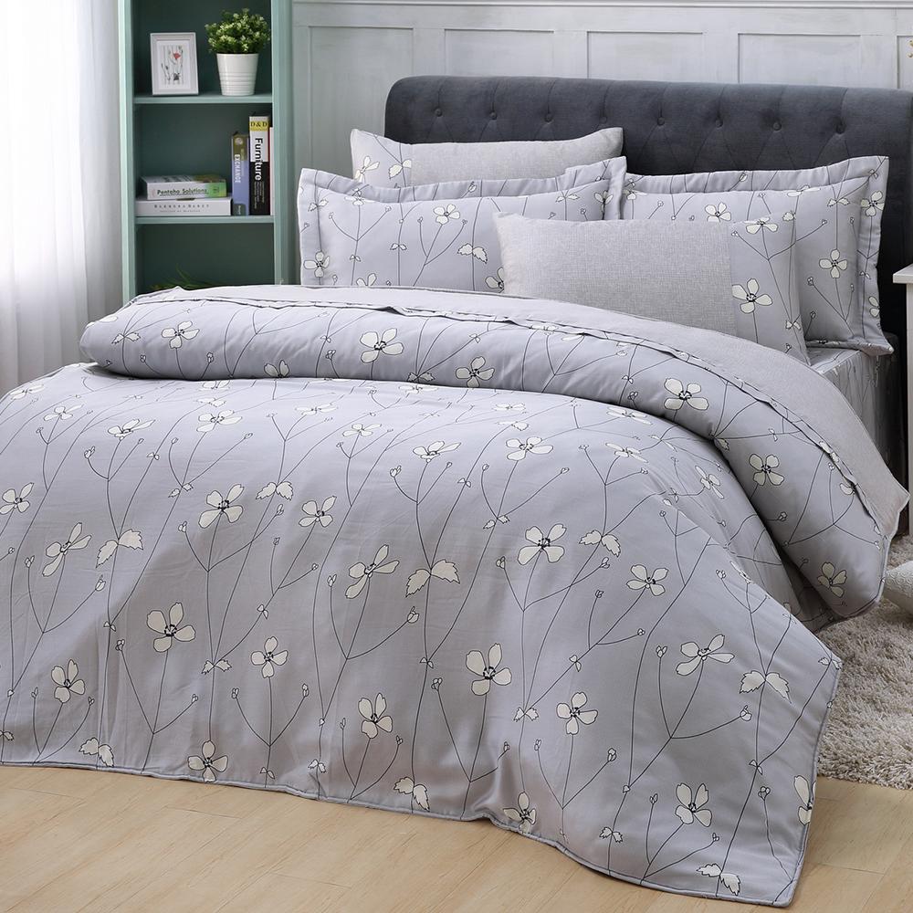 LASOL睡眠屋-40支/100%奧地利天絲 加大兩用被床罩六件組 簡愛花開灰