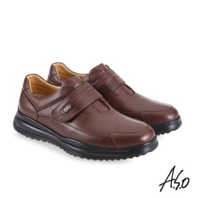 A.S.O 機能休閒 萬步健康鞋 魔鬼黏款商務休閒鞋-咖啡