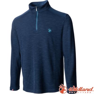 Wildland 荒野 0A72608-72深藍色 男彈性雙色立領長袖半門襟上衣