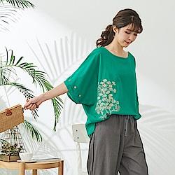 慢 生活 蒲公英刺繡蝙蝠袖上衣- 綠/黃