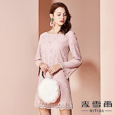 【麥雪爾】棉質典雅蕾絲鑲鑽短洋裝