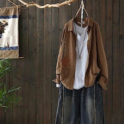 棉麻卡通刺繡襯衫長袖開衫上衣/設計所在/Y4913