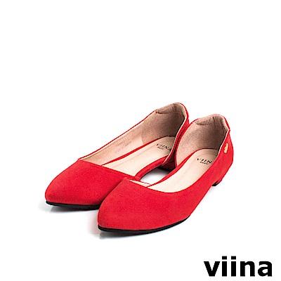 viina Basic素面羊絨布內簍空尖頭鞋 - 紅