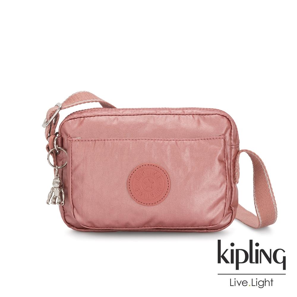 Kipling 甜美俏皮蜜桃粉前後加寬收納側背包-ABANU