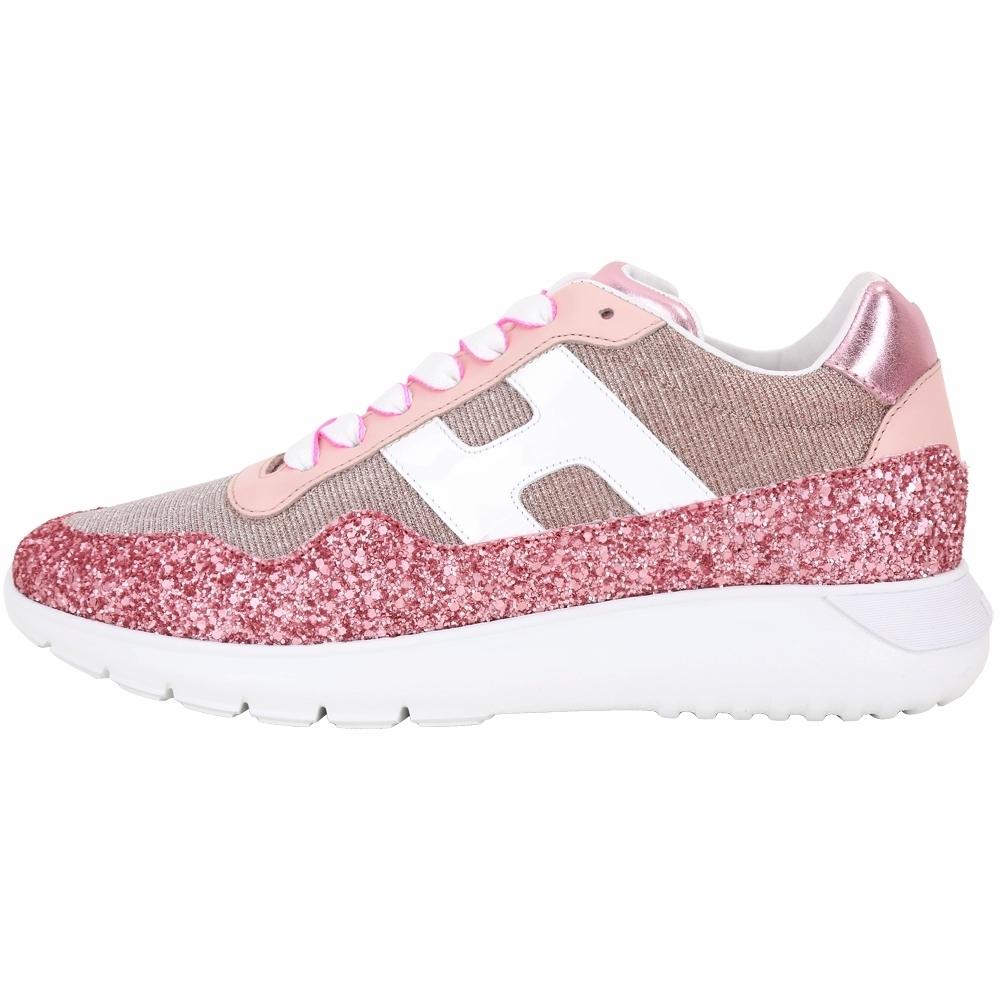 HOGAN Interactive 金蔥坑條織料亮片休閒鞋(粉色)