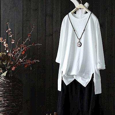 寬鬆大碼純棉t恤套頭內搭上衣-Y1915-設計所在