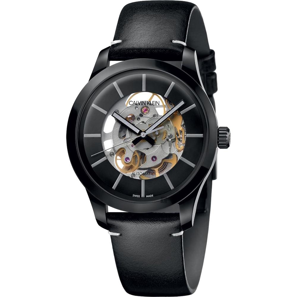 Calvin Klein CK Swing 鏤空機械手錶-黑/41mm(K9A244CY)
