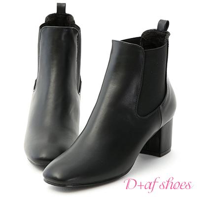D+AF 韓系主流.鬆緊帶拼接中跟短靴*黑