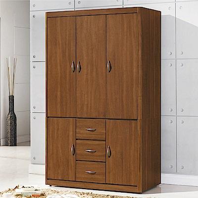 綠活居 湯利時尚4尺五門三抽衣櫃/收納櫃-120x60x206cm免組