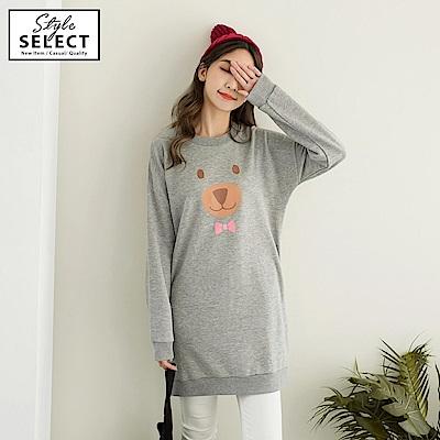 手繪風小熊燙印高棉長版上衣-OB大尺碼 @ Y!購物
