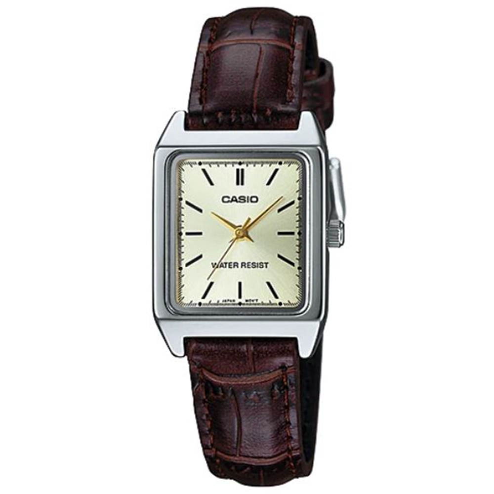 CASIO 方形簡約風指針皮帶腕錶-咖x黃面(LTP-V007L-9E)/18mm