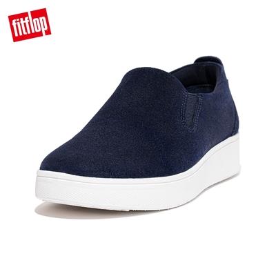 【FitFlop】RALLY SUEDE SLIP-ON SNEAKERS 易穿脫時尚休閒鞋-女(午夜藍)