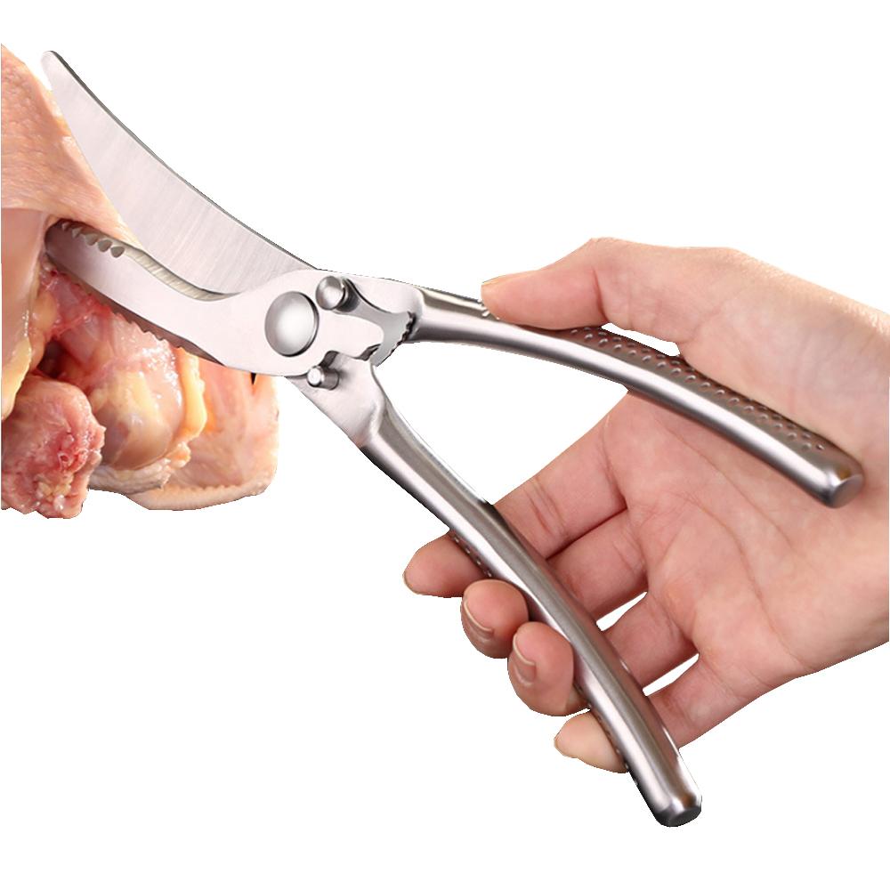 PUSH!餐具用品不鏽鋼剪刀廚房剪雞骨冷熟食物剪刀D168