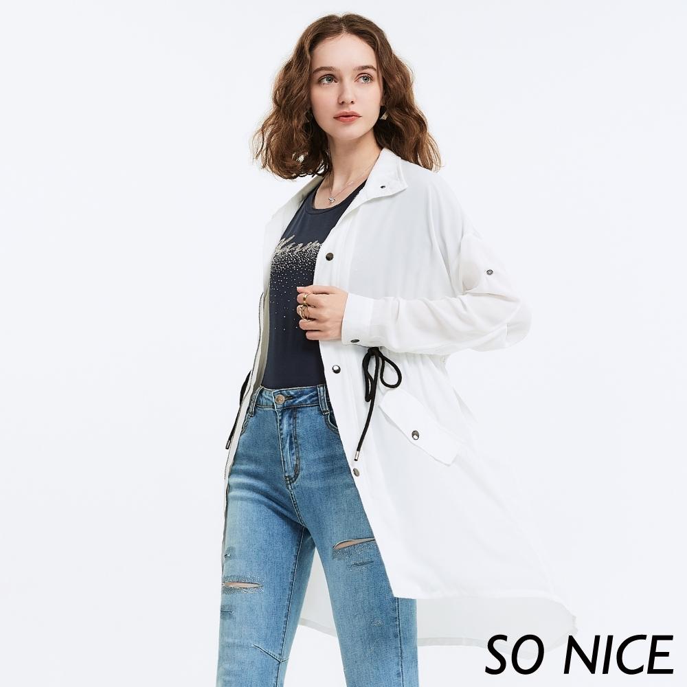 SO NICE率性抽繩綁帶長版雪紡外套