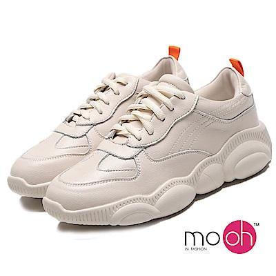 mo.oh-全真皮-拚色厚底休閒老爹鞋-白色