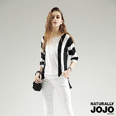 【NATURALLY JOJO】寬版直條側衩線衫(白)