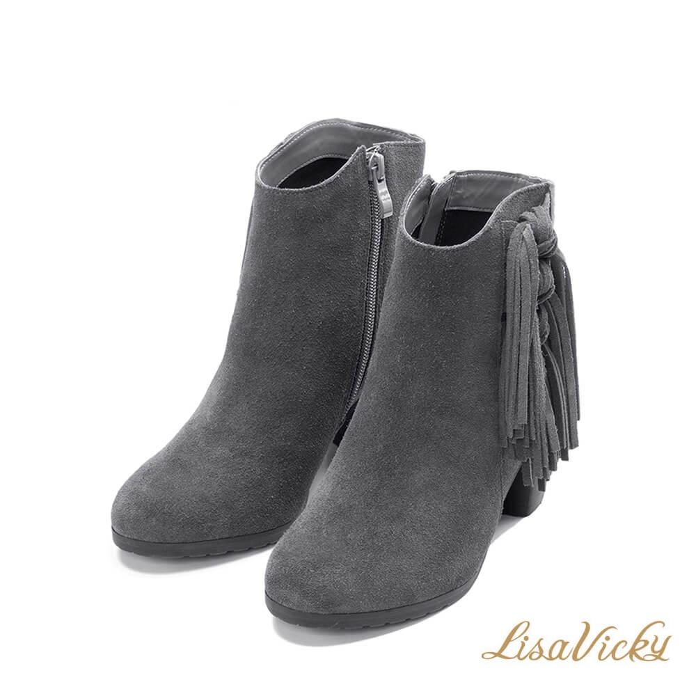 LisaVicky美式個性側邊流蘇粗跟短靴-氣質灰