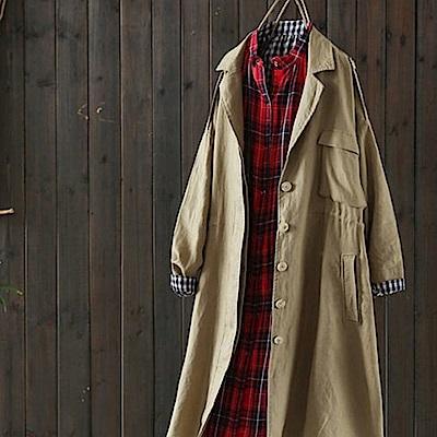 質感廓形時尚打褶寬鬆亞麻風衣外套-設計所在