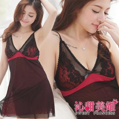奢華網紗睡衣裙組 深V雙層美胸+裙身設計 沁甜美姬(紅)