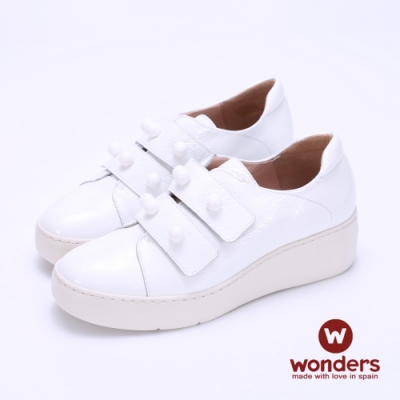 WONDERS -寬帶魔鬼氈厚底皮鞋-白