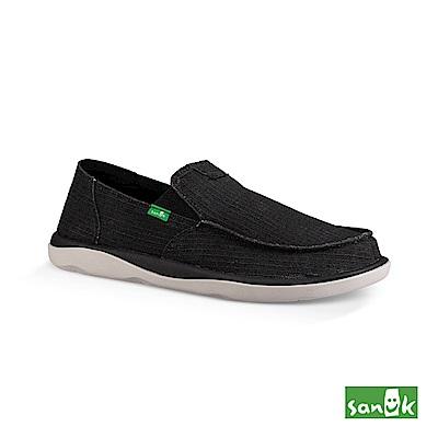 SANUK 竹節紋帆布休閒鞋-男款(黑色)