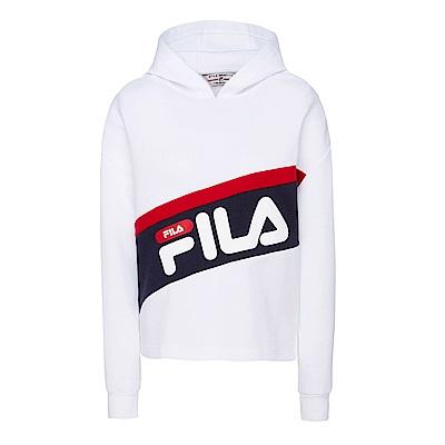 FILA 女款長袖連帽T恤-白 5TES-5427-WT