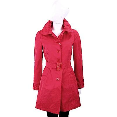 i BLUES 微皺設計布料紅色腰帶風衣 @ Y!購物