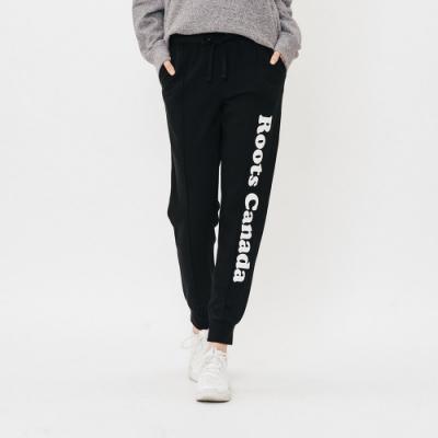 女裝Roots-立體縫線毛圈布休閒棉褲-黑