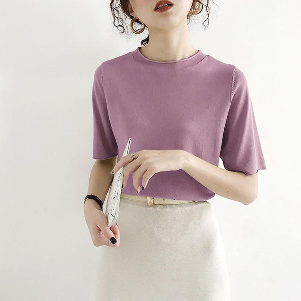 ALLK 歐楷 超彈力冰絲針織上衣 共10色(尺寸F 任選) (紫色)