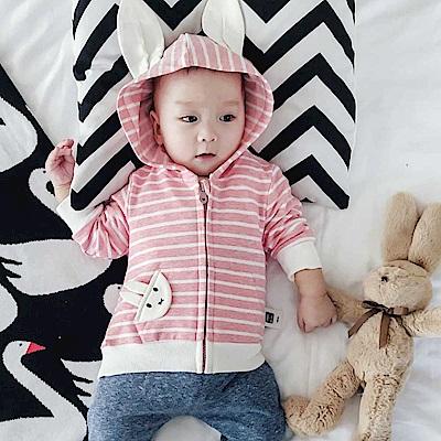 Baby unicorn 粉白條紋小兔連帽長袖外套