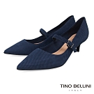 Tino Bellini巴西進口牛皮壓紋瑪莉珍低跟鞋_藍