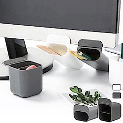 [Ezlife]創意多功能桌面螢幕插袋筆筒2入(長+方)