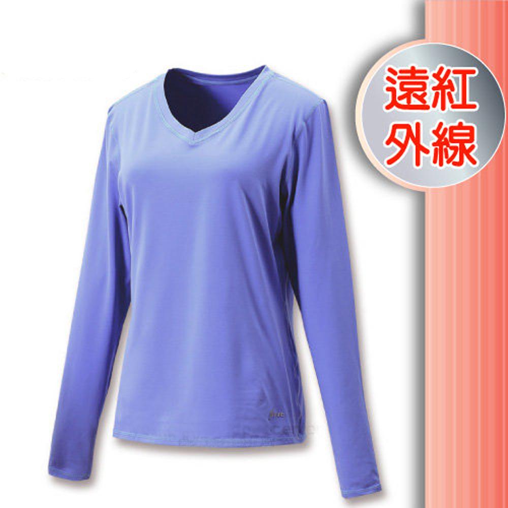 FIT 女 遠紅外線V領保暖內衣_FW2502 夢幻藍 V