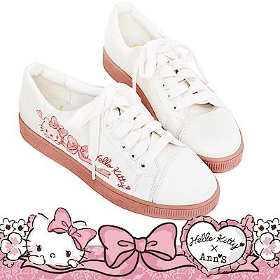 HELLO KITTY X Ann'S LADY美人緞面夢幻球鞋-白