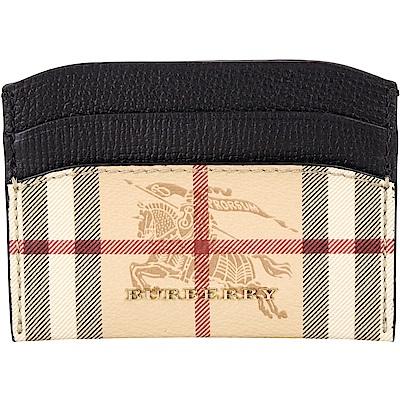 BURBERRY Haymarket 格紋皮革卡片夾(黑色)