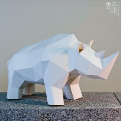 問創設計 DIY手作3D紙模型 禮物 擺飾 小動物系列-犀牛擺飾