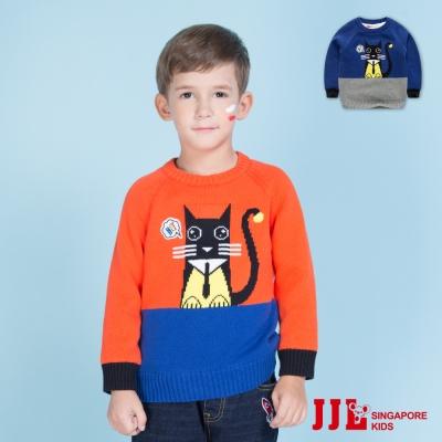 JJLKIDS 慵懶貓咪純棉內刷毛針織毛衣(2色)