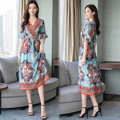 【韓國K.W.】明星款雙重美學短袖洋裝
