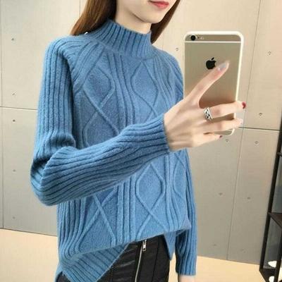 La Belleza立領坑條拼接菱格直條前短後長包心紗針織毛衣
