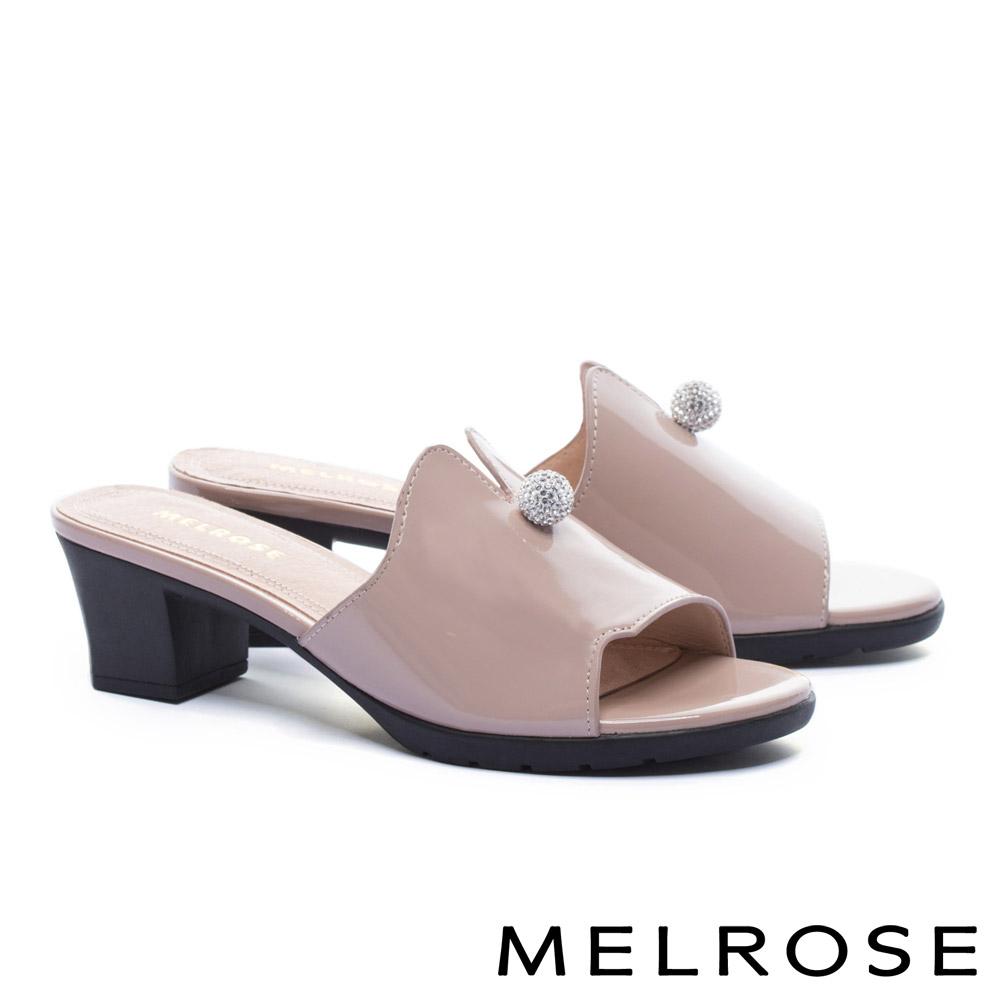拖鞋 MELROSE 時髦晶鑽飾釦球軟牛漆皮粗高跟拖鞋-粉