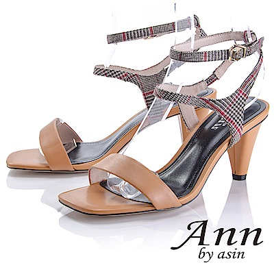 Ann by asin 摩登時尚~格紋雙腳踝帶真皮軟墊高跟涼鞋(棕色)