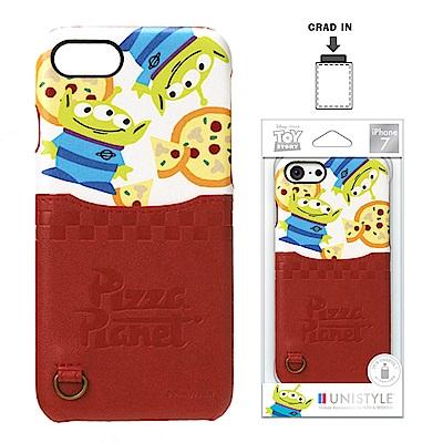 iPhone 8/7 迪士尼 皮革背蓋口袋 硬殼 4.7吋-披薩三眼怪