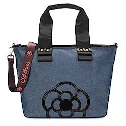 CLATHAS 山茶花裝飾丹寧織布兩用托特包-中/藍色