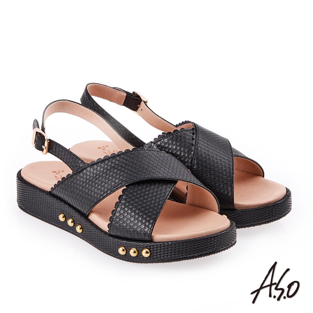 A.S.O 雅緻魅力 牛皮壓紋鉚釘綴飾輕量奈米鞋墊休閒涼鞋 黑