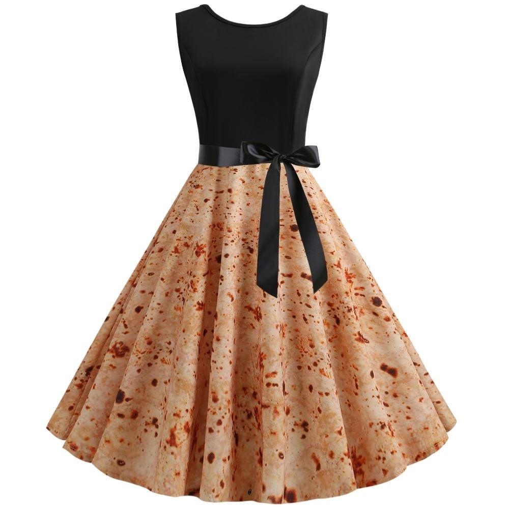MOCO復古風收腰綁黑色緞帶潑墨染色印花大擺裙小禮服背心洋裝L~2L