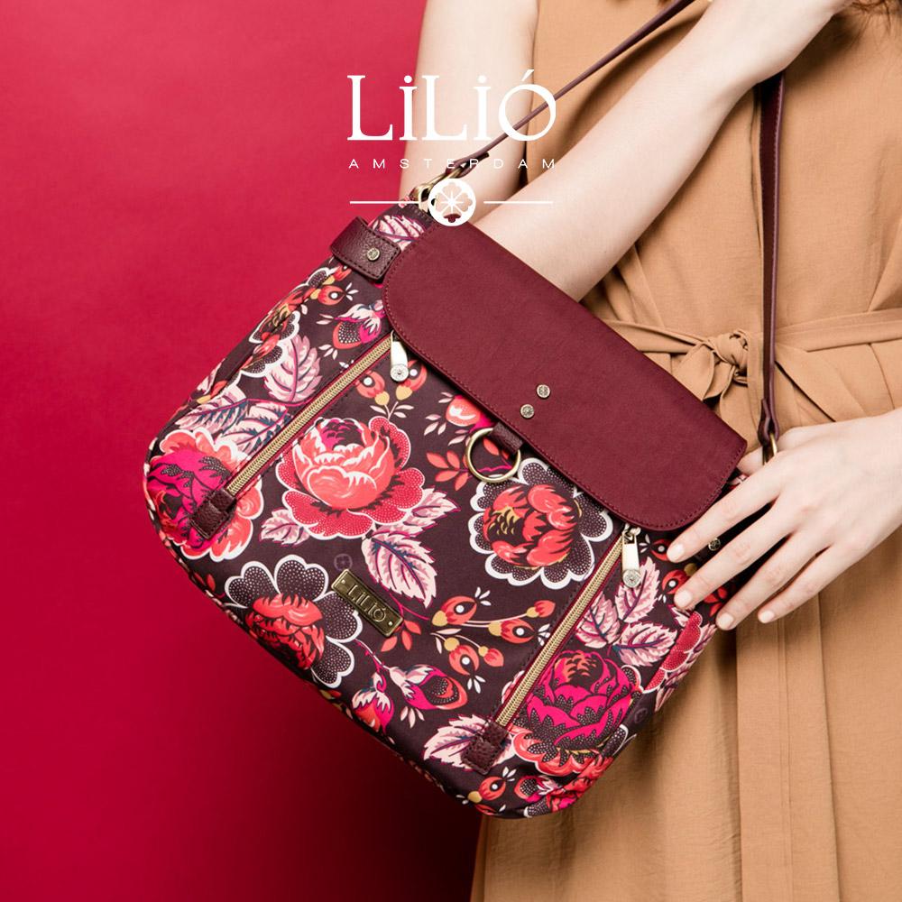 織帶手提斜背包-法國玫瑰復刻印花 -胭脂紅 LiliO