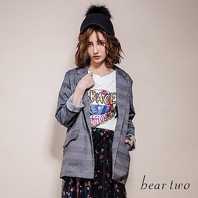 beartwo Grace天堂玫瑰唇印龐克風印花七分袖上衣(2色)