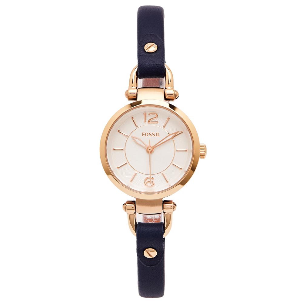 FOSSIL 都會佳人款皮革女性手錶(ES4026)-銀面X藍色/26mm